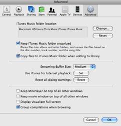 iTunes Music Folder Preferences