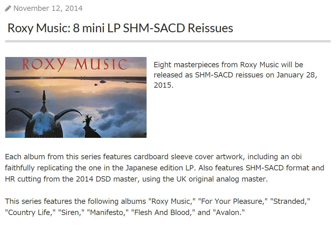Roxy Music: 8 mini LP SHM-SACD Reissues - Music in General