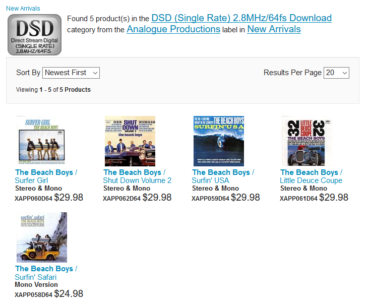 5 Beach Boys DSD Downloads from Analogue Productions - Music