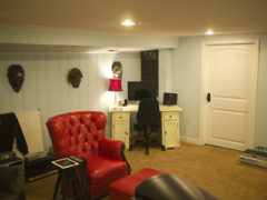 View of listening position and desk.