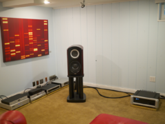 Front left channel TAD Labs CR1 loudspeaker with components on left and amp on right.