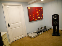 Front left channel TAD Labs CR1 loudspeaker with components on left.
