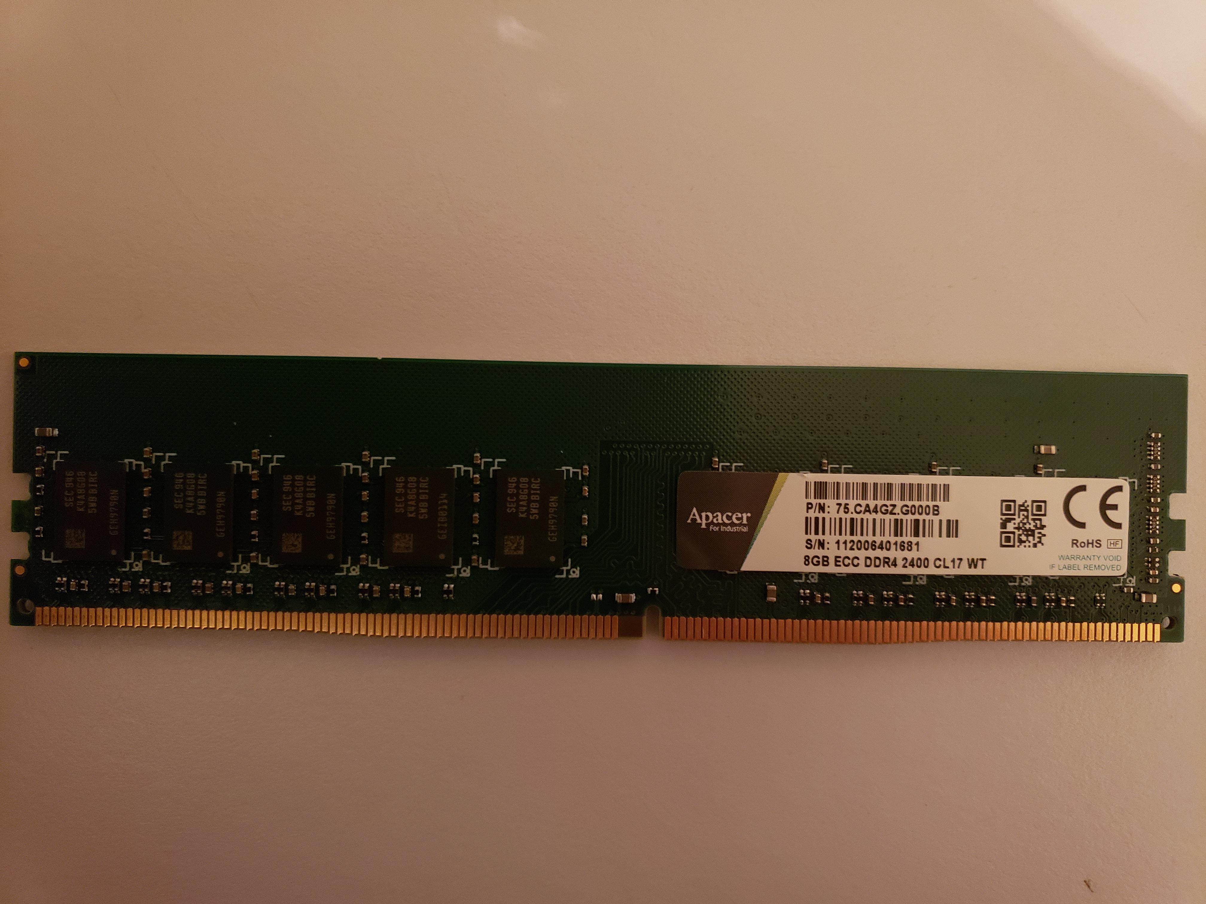 8GB Apacer ECC RAM